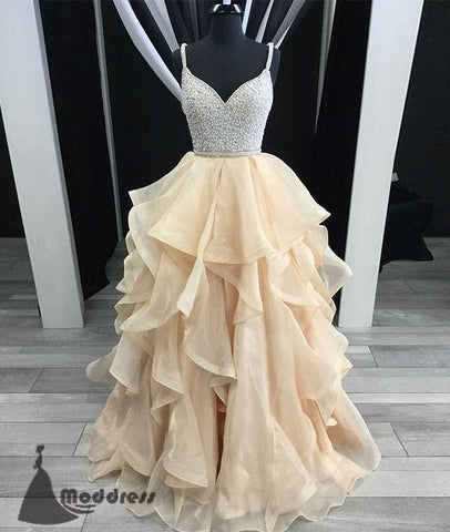 V-Neck Long Prom Dress Beading Evening Dress Tulle Sleeveless Ball Gowns Formal Dress,HS555