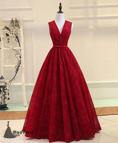 V-Neck Long Prom Dress Lace Sleeveless Evening Dress A-line Formal Dress,HS498