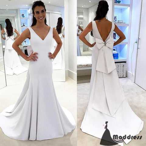 V-Neck Long Prom Dress Mermaid Evening Dress Backless White Formal Dress