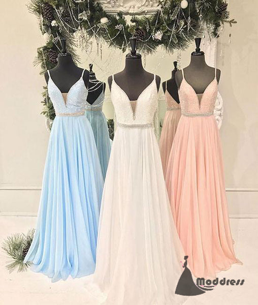V-Neck Long Prom Dress Sequins A-Line Evening Dress Formal Dress,HS458