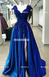 V-Neck Long Prom Dresses Applique Beaded Evening Dresses A-Line Formal Dresses