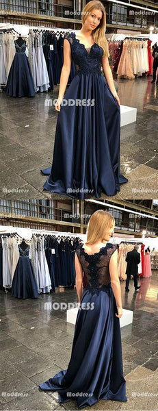 V-Neck Long Prom Dresses Applique Beaded Evening Dresses Satin A-Line Formal Dresses