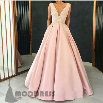 V-Neck Long Prom Dresses Applique Satin Pink A-Line Evening Formal Dresses,HS719