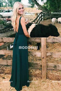 V-Neck Long Prom Dresses Backless Evening Dresses A-Line Formal Dresses