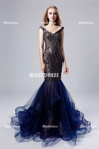 V-Neck Long Prom Dresses Sequins Evening Dresses Mermaid Formal Dresses,LX528