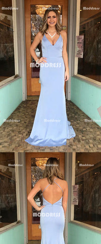 V-Neck Long Prom Dresses Spaghetti Straps Evening Dresses Backless Mermaid Formal Dresses