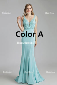 V-Neck Mermaid Long Prom Dresses Backless Evening Dresses Sleeveless Formal Dresses