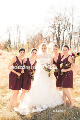 V-Neck Short Bridesmaid Dresses Knee Length Prom Dresses,HS859