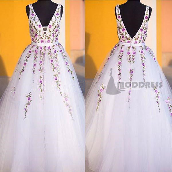 V-Neck White Long Prom Dresses Applique Tulle Evening Formal Dresses,HS687