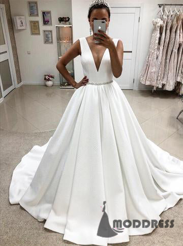 Pink prom dress long prom dress formal prom dress moddress v neck satin wedding dresses crystal beaded ball gowns sleeveless long prom dresseshs657 junglespirit Image collections
