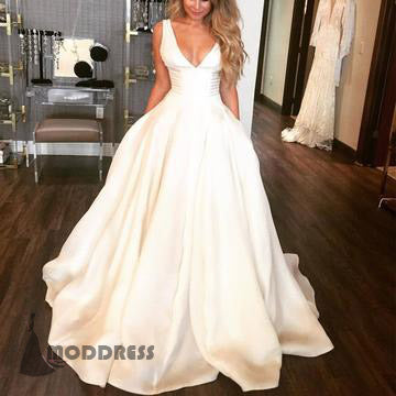 V Neck Wedding Dresses Sleeveless Ball Gowns Satin Long Prom Dresses,HS685
