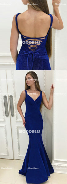 Velvet Mermaid Long Prom Dresses Spaghetti Straps Evening Dresses Royal Blue Backless V-Neck Formal Dresses