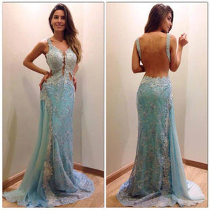 lace prom dress, long prom dress, elegant prom dress, charming prom dress, backless evening dress, BD90