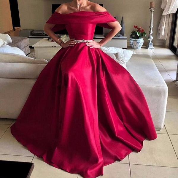 formal Red A-line long off shoulder satin prom dress, PD5671