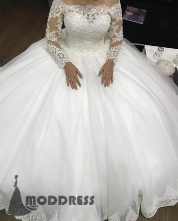 Vintage Lace Wedding Dresses Long Sleeves White Tulle Ball Gowns Off The Shoulder Bridal Dresses,HS632