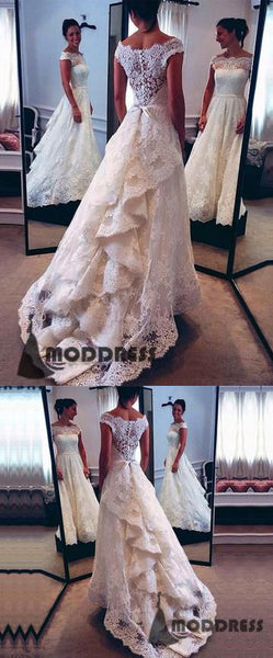 Vintage Lace Wedding Dresses Scoop Bridal Dresses Bustle Style Bridal Gowns,HS633