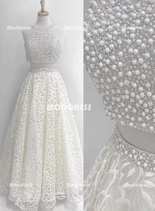 White 2 Pieces Beaded Homecoming Dresses Lace Long Prom Dresses A-Line Formal Dresses,HS804