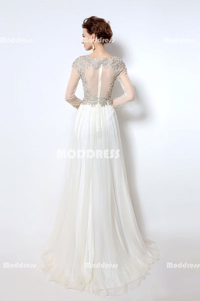 White Applique Beaded Long Prom Dresses Long Sleeve Evening Dresses Tulle A-Line Formal Dresses