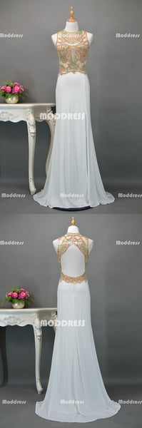 White Beaded Long Prom Dresses Mermaid Evening Dresses Sleeveless Formal Dresses with High Slit