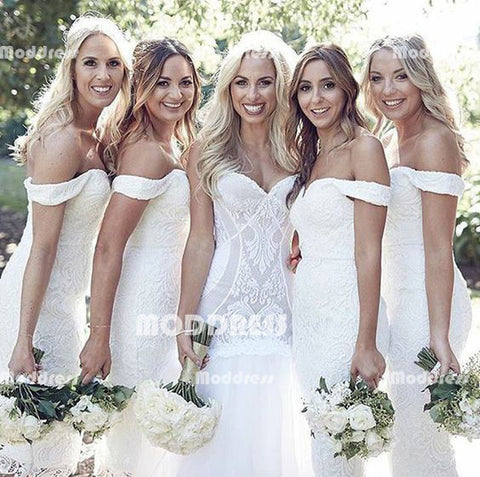 White Lace Long Bridesmaid Dresses Off the Shoulder Bridesmaid Dresses Mermaid Bridesmaid Dresses