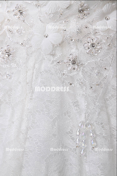 White Lace Wedding Dresses Strapless Applique Beaded Ball Gowns