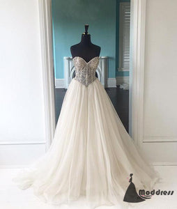 White Long Prom Dress Sweetheart Evening Dress A-Line Tulle Formal Dress,HS459