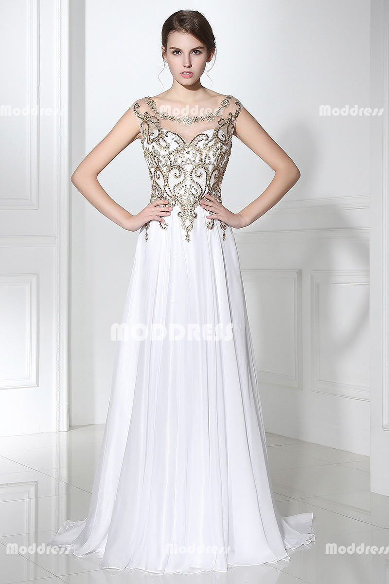 White Long Prom Dresses Beaded Sleeveless Evening Dresses A-Line Formal Dresses