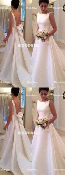 White Satin Long Prom Dresses Backless Evening Dresses A-Line Formal Dresses