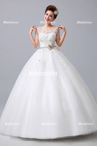 White Scoop Wedding Dresses Applique Beaded Evening Dresses Tulle Ball Gowns