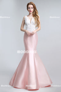 White Sequins Pearls Long Prom Dresses Pink Satin Evening Dresses Backless Mermaid Formal Dresses