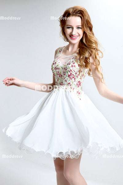 White Short Homecoming Dresses Applique Beaded Short Homecoming Dresses Chiffon A-Line Short Prom Dresses
