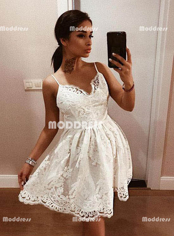 White Short Homecoming Dresses V-Neck Prom Dresses Lace Evening Formal Dresses.,HS833