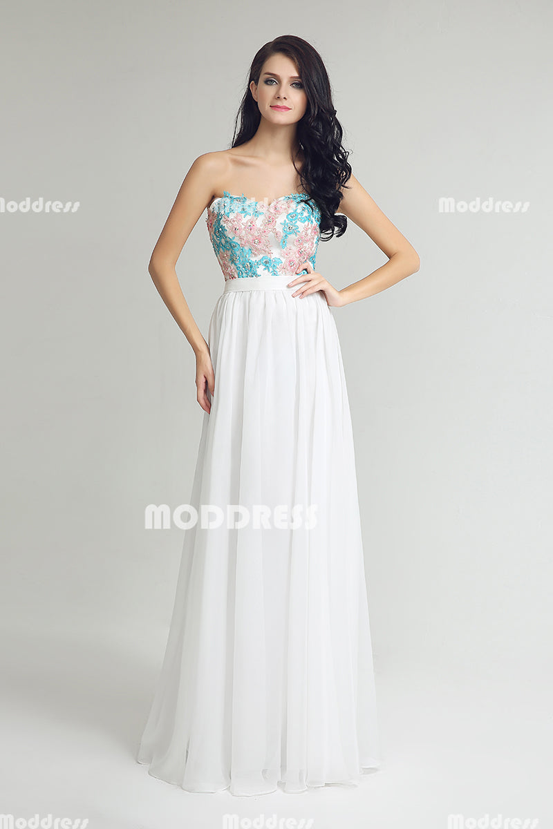 White Strapless Long Prom Dresses Applique Beaded Evening Dresses Chiffon A-Line Formal Dresses