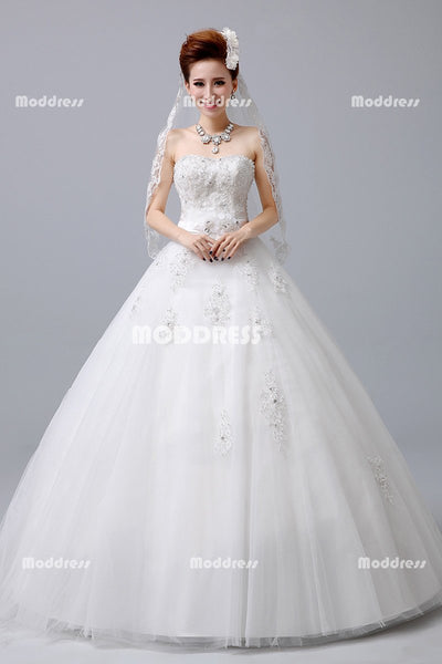 White Strapless Wedding Dresses Applique Beaded Ball Gowns