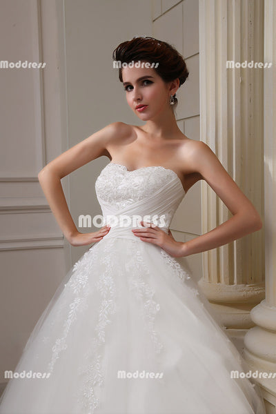 White Strapless Wedding Dresses Applique Beaded Wedding Dresses Sleeveless Ball Gowns