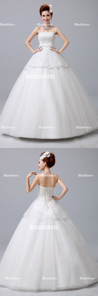 White Strapless Wedding Dresses Sequins Beaded Ball Gowns Tulle Gowns