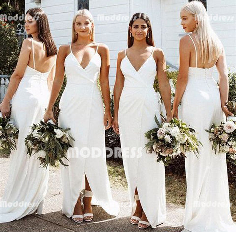 White V-Neck Long Bridesmaid Dresses Spaghetti Straps  Bridesmaid Dresses