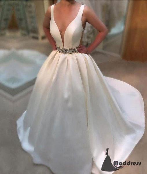 White V-Neck Long Prom Dresses Satin Sleeveless Evening Dresses,HS424