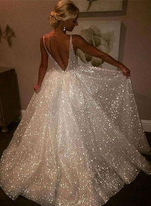 White V-Neck Sequins Long Prom Dresses Backless Evening Dresses A-Line Formal Dresses,HS777
