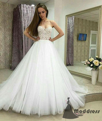 White Wedding Dress Lace Long Prom Dress Tulle Evening Dress A-Line Formal Dress Bridal Dress,HS559
