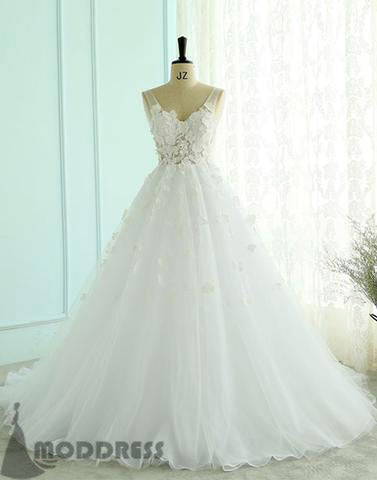 White Wedding Dresses Flowers Bridal Dresses V-Neck A-Line Long Prom Dresses Formal Dresses,HS689
