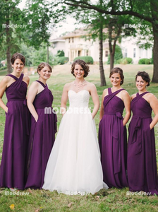 Wrapped Long Bridesmaid Dresses Chiffon Evening Dresses A-Line Formal Dresses