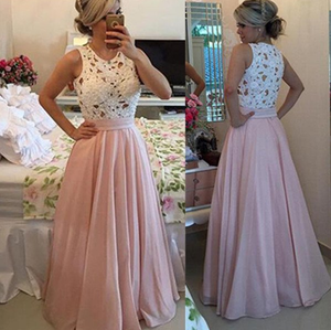 scoop beaded pink A-line  long prom dress, PD9777