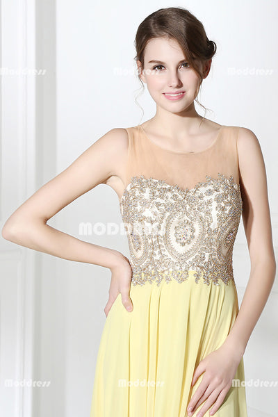 Yellow Chiffon Long Prom Dresses Applique Beaded Evening Dresses Sleeveless A-Line Formal Dresses