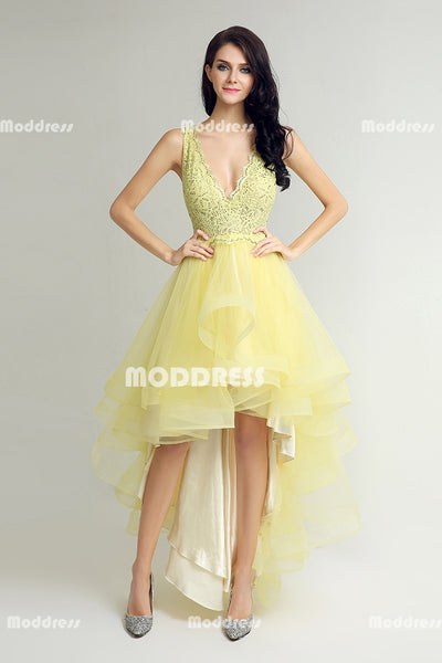 Yellow High-Low  Homecoming Dresses Lace V-Neck Prom Dresses A-Line Prom Dresses