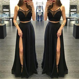 two pieces prom dress,long prom dress,black prom dress,side slit prom dress,sexy prom dress, BD533