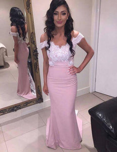 pink off shoulder mermaid long elegant cheap lace top Bridesmaid Dresses 2017,BD7310