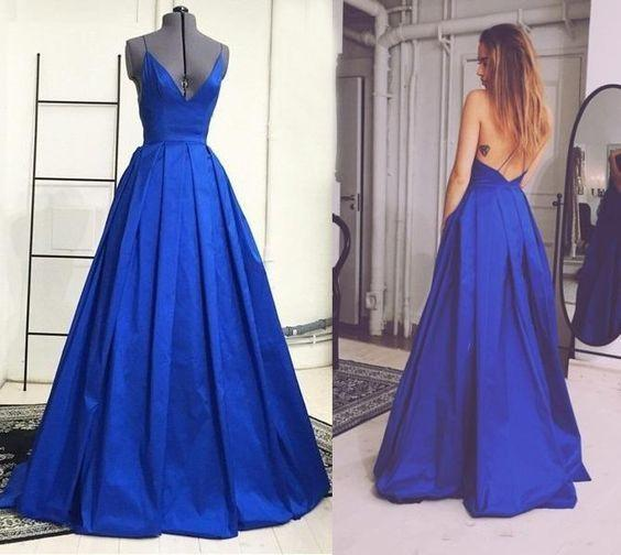 royal blue prom dress, long prom dress, A-line prom dress, v-neck prom dress, evening gown 2017, BD108