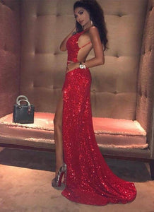 backless long prom dress with high slit red sequins spaghetti straps evening dress,HS261