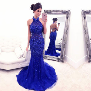 charming beaded halter backless mermaid long royal blue evening dress, BD6444